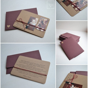 Kvietimas. Trys dalys - kvietimo pagrindas su tekstu, raišteliu ir vaikystės nuotraukomis) bei rankų darbo vokas.  Dydis - 150 x 100.