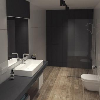 Gyvenamojo namo vonios kambario interjeras