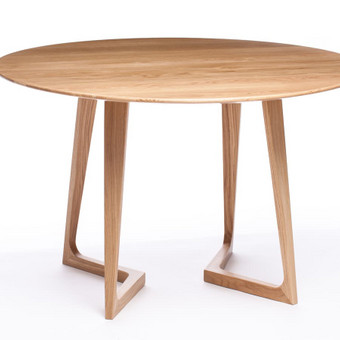 Apvalus, elegantiškas  valgomojo stalas lenktomis kojomis
