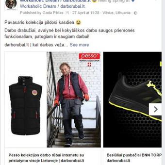 Facebook profilis: Workaholic Dream   darborubai.lt  PVZ.: aktyvių nuorodų karuselė  https://www.facebook.com/darborubailt/