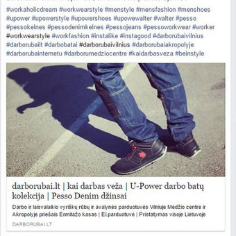 Facebook profilis: Workaholic Dream   darborubai.lt  PVZ.: aktyvus link'as į tinklalapį su papildomomis nuorodomis į atskiras prekes ir į Facebook platformos parduotuvę