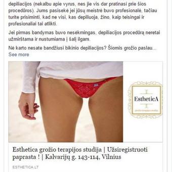 Esthetica grožio terapijos studija  PVZ.: aktyvus link'as į tinklalapį su papildomomis nuorodomis į atskiras paslaugas