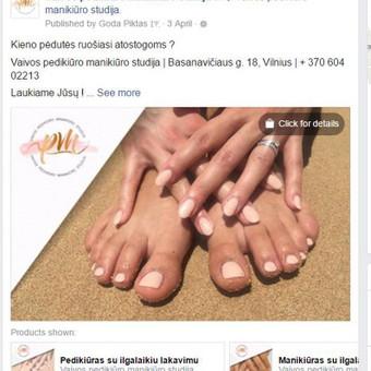 Vaivos pedikiūro manikiūro studija PVZ.: aktyvus link'as į tinklalapį su papildomomis nuorodomis į atskiras paslaugas