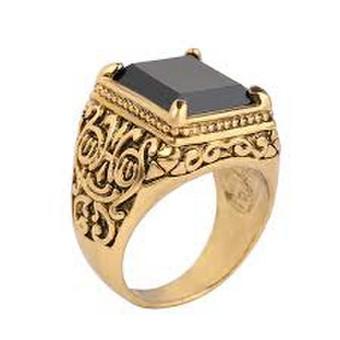 vyriškas aukso žiedas su mineralo shungite kristalu