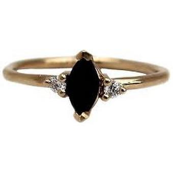 moteriškas plonas aukso 575 žiedas su mineralo brilliant shungite kristalu
