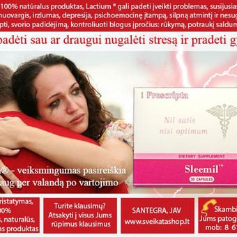 Sleemil™ (30) - unikalūs, 100% natūralus produktas, Lactium® gali padeti įveikti problemas, susijusias su stresu:  nemigą, nuovargis, irzlumas, depresija, psichoemocinę įtampą ir t.t