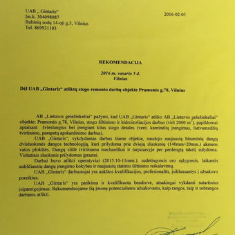 plokšti stogai 2500m2.,rekomendacija AB Lietuvos Geležinkeliai