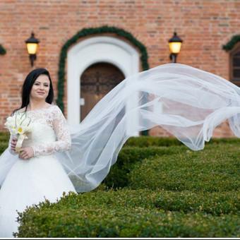 Ilga,gorsetine vestuvine suknele,pieno baltumo spalvos.Virsus puostas gipiuro aplikacijomis,apatine dalis pusta. Vienas sluoksnis pagrindo ir penki sluoksniai tiulio. ilgas nuometas.
