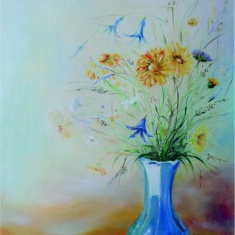 Mokinės nutapyta gėlių puokštė. Drobė, aliejus. 60x50cm.
