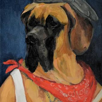 Tai galėtų būti ir jūsų šuns portretas. Dydis 40x50, kaina 35-40Eur.