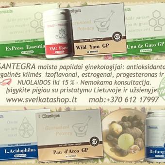 Santegros maisto papildai ginekologijai, natūralūs augaliniai ingredientai teigiamai veikia moters organizmo harmonini balansa, gali padėti esant moters lytinės sferos uždegiminiams susirgimams.