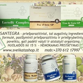 SANTEGRA – priešparazitines priemones gali padėti nuo kandidozės, parazitų ir kirmėlių. Santegros priešparazitiniai papildai gali padėti naikinti daugeli ligas sukeliančiu mikrobų rūšiu ...