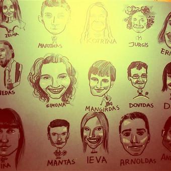 A1 formato lape 15 šaržuotų portretų (1 šaržas, kai užsakomi 4 arba daugiau nei 4  veidukai viename lape, kainuoja  - 7 eur)