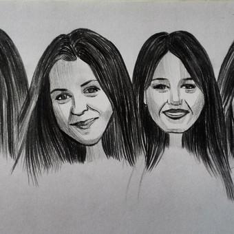 A4 formato kolektyvinis portretas (28 eur) ( 1 portretas, kai užsakomi 4 ar daugiau nei 4 veidukai viename lape, kainuoja - 7 eur)