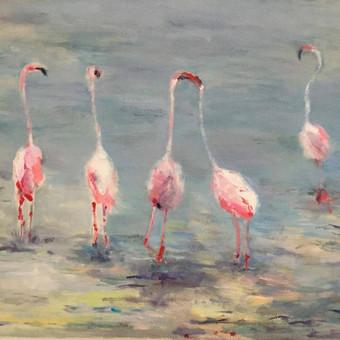 FLAMINGŲ ŠOKIS. Drobė, akrilas. 50x60, 2014. Subtilu, išraiškinga, gyvybinga. Paveikslas sukurtas pagal nuotrauką su flamingais.