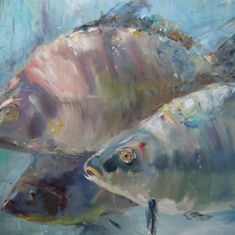 KARPIAI - ŠEIMOS GEROVĖS SIMBOLIS. Drobė, aliejus, 60x60, 2015. Atkreipkite dėmesį į žuvų personažus. Parduotas.