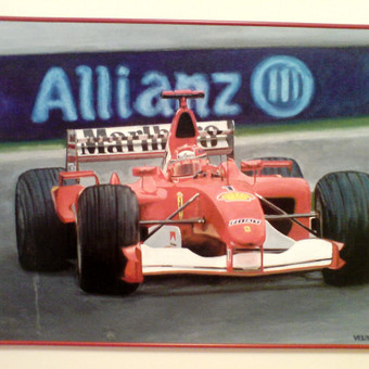 Ferrari sport,2004,kartonas,aliejus
