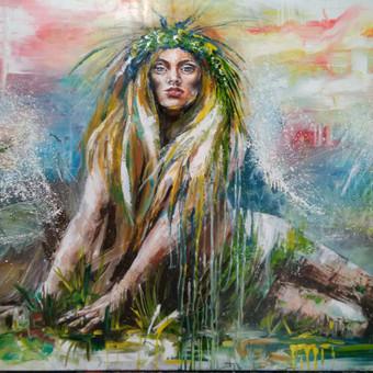 """Baltų deivės """"Jūratė """" anglis , aliejus , drobė 140 × 100"""