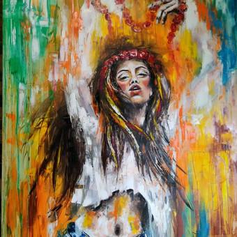 """Baltų deivės """"Gabija """" aliejus ,drobė 140 ×100"""