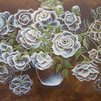 Baltos rožės 50x80