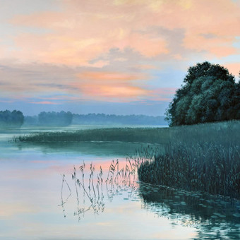"""""""Vakaras prie ežero"""" Paveikslas tapytas ant drobės, aliejiniai dažai, dydis 100x70cm (PARDUOTAS)"""