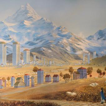 """""""Miestas prie kalnų"""" Paveikslas tapytas ant drobės aliejiniais dažais, dydis 150x100cm (NEPARDUOTAS)"""