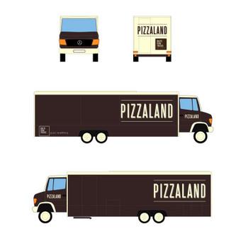 Lipdukų kūrimas ir PIZZALAND food trucko išorės dizainas.