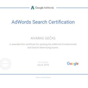 Sertifikuota Google Adwords, FB Reklama / Aivaras / Darbų pavyzdys ID 298897