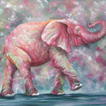 Spalvingasis laimės dramblys 100 x80