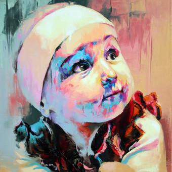 """Paveikslas """"JK17-0425 Baby-Girl"""", aliejus - drobė, 60x70. Užsakomasis darbas tapytas iš nuotraukos."""