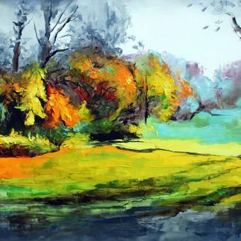 """Paveikslas """"JK17-0509 Landscape"""", aliejus - drobė, 200x80 (PARDUOTAS)"""