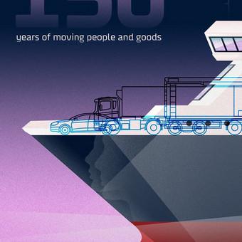 DFDS 150 m. jubiliejaus proga rengiamo plakatų konkurso prizinės vietos nugalėtojas, darbas taip pat naudojamas ir kaip atvirutės dizainas.