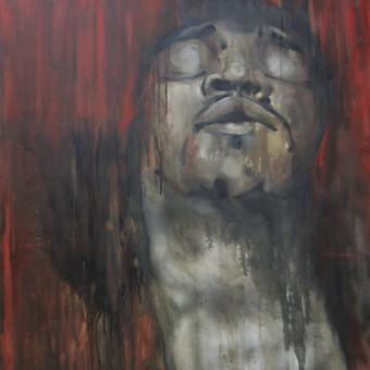 """Darbas pagal užsakymą. """"James Marshall Hendrix"""". Drobė, aliejus. 120x100cm. 2012m."""