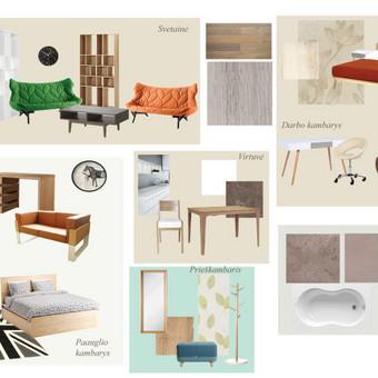Reklaminis stendas, kuriame baldai suskirstyti pagal kambarius, taip sukuriant interjerui pritaikomas kompozicijas.