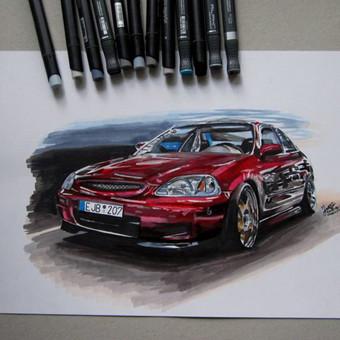 Automobilių ir kitų liustracijų piešimas / Justinas Kyga / Darbų pavyzdys ID 314779
