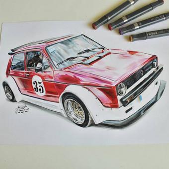 Automobilių ir kitų liustracijų piešimas / Justinas Kyga / Darbų pavyzdys ID 314785