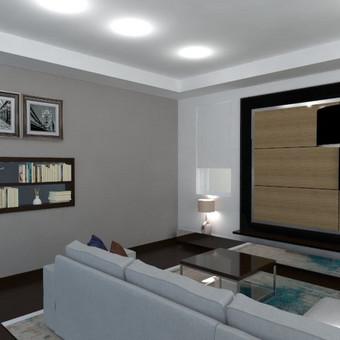 Privataus namo Vilniuje svetainės kambario interjero vizualizacija.