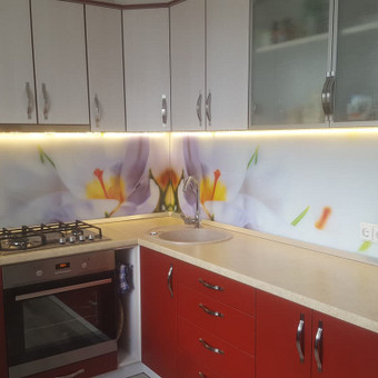 Stiklo sienelė virtuvėje su foto vaizdu / Stiklo Spalvos / Darbų pavyzdys ID 318957