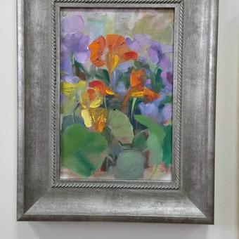 Paveikslų su gėlėmis tapyba ant drobės aliejiniais dažais. Parduodamas