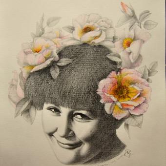 Portretas, nupieštas ant A3 formato popieriaus grafitiniais pieštukais iš nuotraukos. Pavyzdys