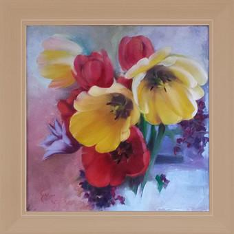 Paveikslų su gėlėmis tapyba ant drobės aliejiniais dažais. Pavyzdys.