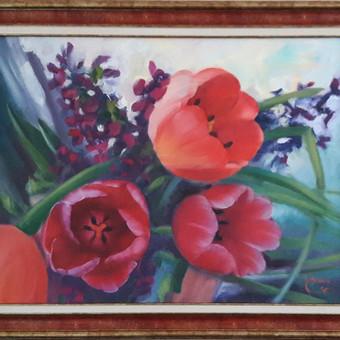 Paveikslai su gėlėmis ant drobės aliejiniais dažais. Pavyzdys