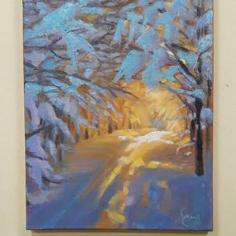 Saulėtas miško keliukas žiemą. Paveikslas ant drobės 30x40 cm aliejiniais dažais. Pardoudamas. 40 eurų