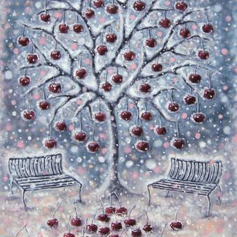 200 eur_Žiemos vyšnia 55x75, aliejus, drobė.