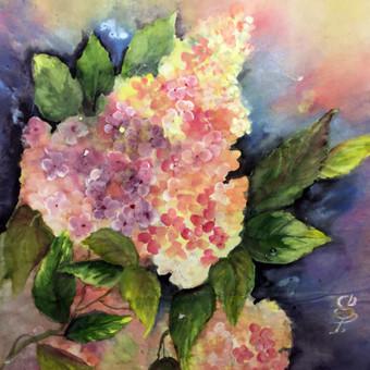 """""""Hortenzija"""", 30 x 40, mineraliniai dažai, ryžių popierius. Parduodamas"""