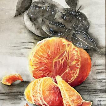 """""""Mandarinai"""", 30 x 40, mineraliniai dažai, ryžių popierius. Parduodamas"""