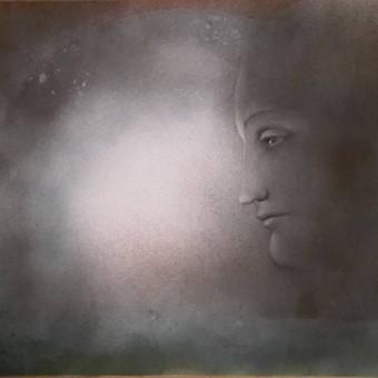 """""""Šviesa"""" Akrilas, drobė. 50x70 cm Paveikslas eksponuotas parodoje Laisvės Gynėjų dienai paminėti (Sausio 13, 2017), Užupio menų inkubatoriuje."""