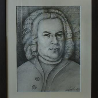 Darbas pagal užsakymą. Bacho portretas. Formatas A3, popierius, pieštukas. 2017m.