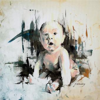 """Paveikslas """"JK17-0913 Baby Boy"""", aliejus- drobė, 50x50cm"""