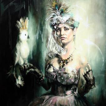 "Paveikslas ""JK17-1128 Lady with a Parrot"", aliejus- drobė, 90x120cm"